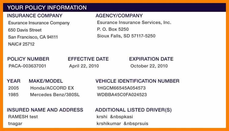 Auto Insurance Card Template Free Download Car Document